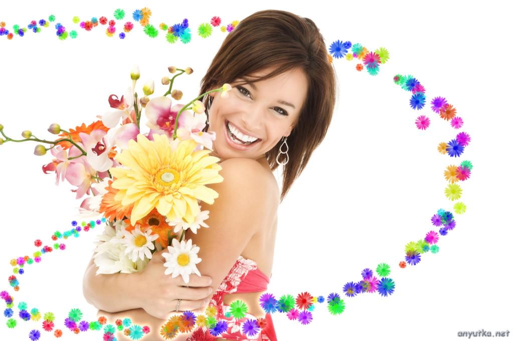 девушка с цветами радуется жини
