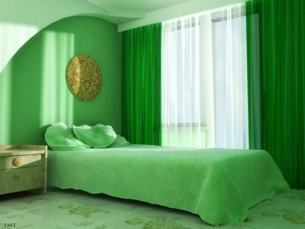 komnata okrasenaia zelenim tvetom